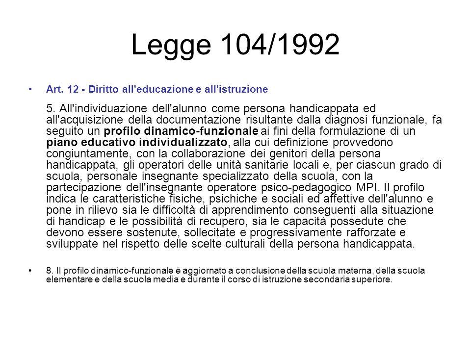 Legge 104/1992 Art. 12 - Diritto all'educazione e all'istruzione 5. All'individuazione dell'alunno come persona handicappata ed all'acquisizione della