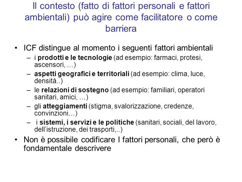 Il contesto (fatto di fattori personali e fattori ambientali) può agire come facilitatore o come barriera ICF distingue al momento i seguenti fattori
