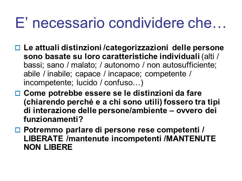 E' necessario condividere che…  Le attuali distinzioni /categorizzazioni delle persone sono basate su loro caratteristiche individuali (alti / bassi;
