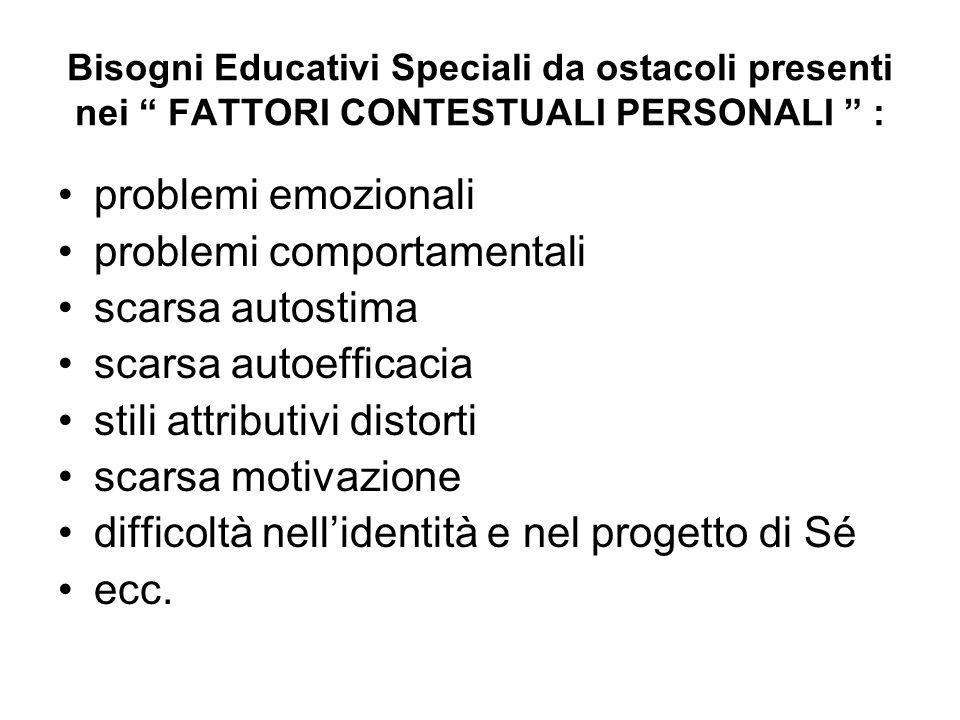 """Bisogni Educativi Speciali da ostacoli presenti nei """" FATTORI CONTESTUALI PERSONALI """" : problemi emozionali problemi comportamentali scarsa autostima"""