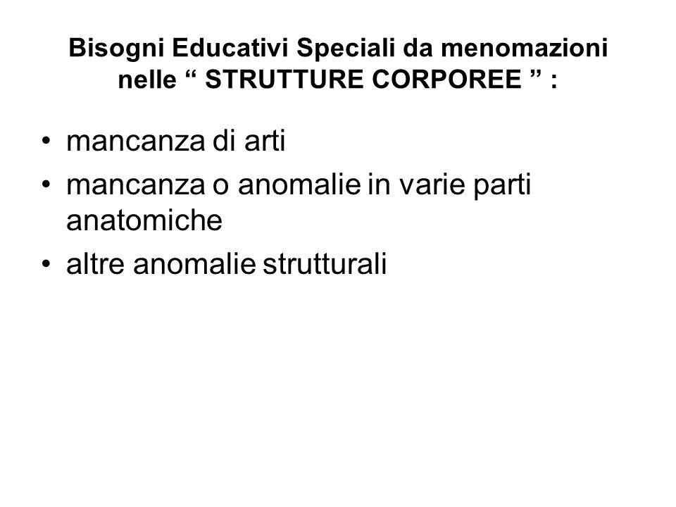 """Bisogni Educativi Speciali da menomazioni nelle """" STRUTTURE CORPOREE """" : mancanza di arti mancanza o anomalie in varie parti anatomiche altre anomalie"""