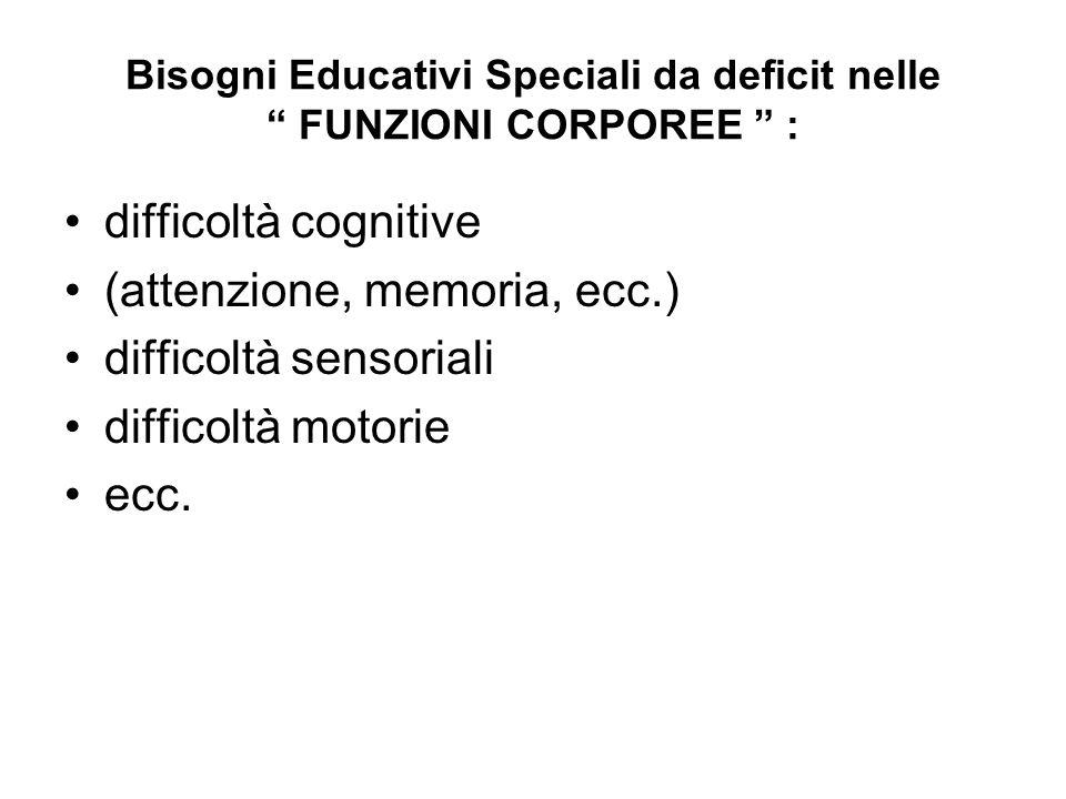 """Bisogni Educativi Speciali da deficit nelle """" FUNZIONI CORPOREE """" : difficoltà cognitive (attenzione, memoria, ecc.) difficoltà sensoriali difficoltà"""