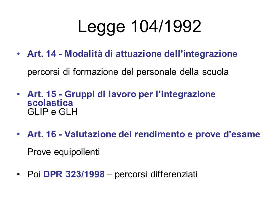 Legge 104/1992 Art. 14 - Modalità di attuazione dell'integrazione percorsi di formazione del personale della scuola Art. 15 - Gruppi di lavoro per l'i