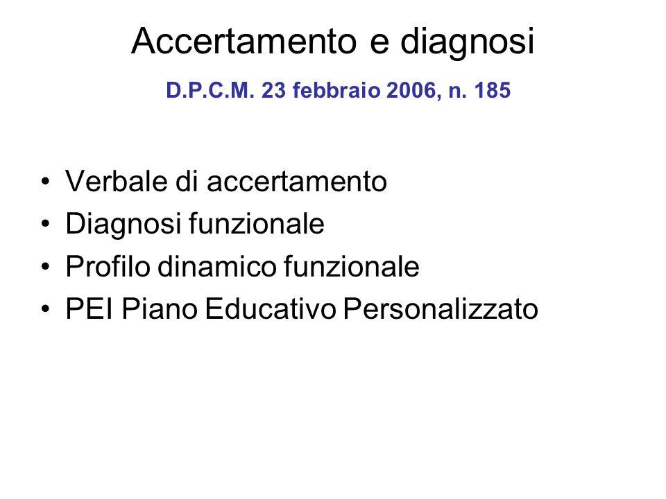Accertamento e diagnosi D.P.C.M. 23 febbraio 2006, n. 185 Verbale di accertamento Diagnosi funzionale Profilo dinamico funzionale PEI Piano Educativo