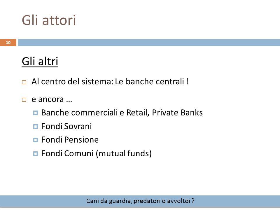 Gli attori 10 Cani da guardia, predatori o avvoltoi ?  Al centro del sistema: Le banche centrali ! Gli altri  e ancora …  Banche commerciali e Reta