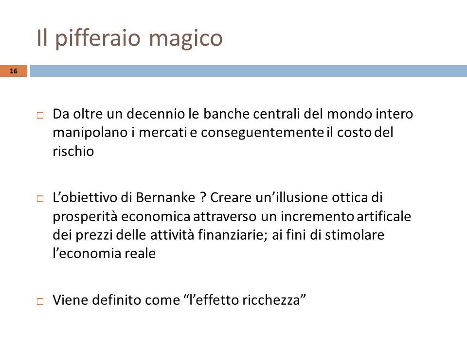 Il pifferaio magico 16  Da oltre un decennio le banche centrali del mondo intero manipolano i mercati e conseguentemente il costo del rischio  L'obiettivo di Bernanke .