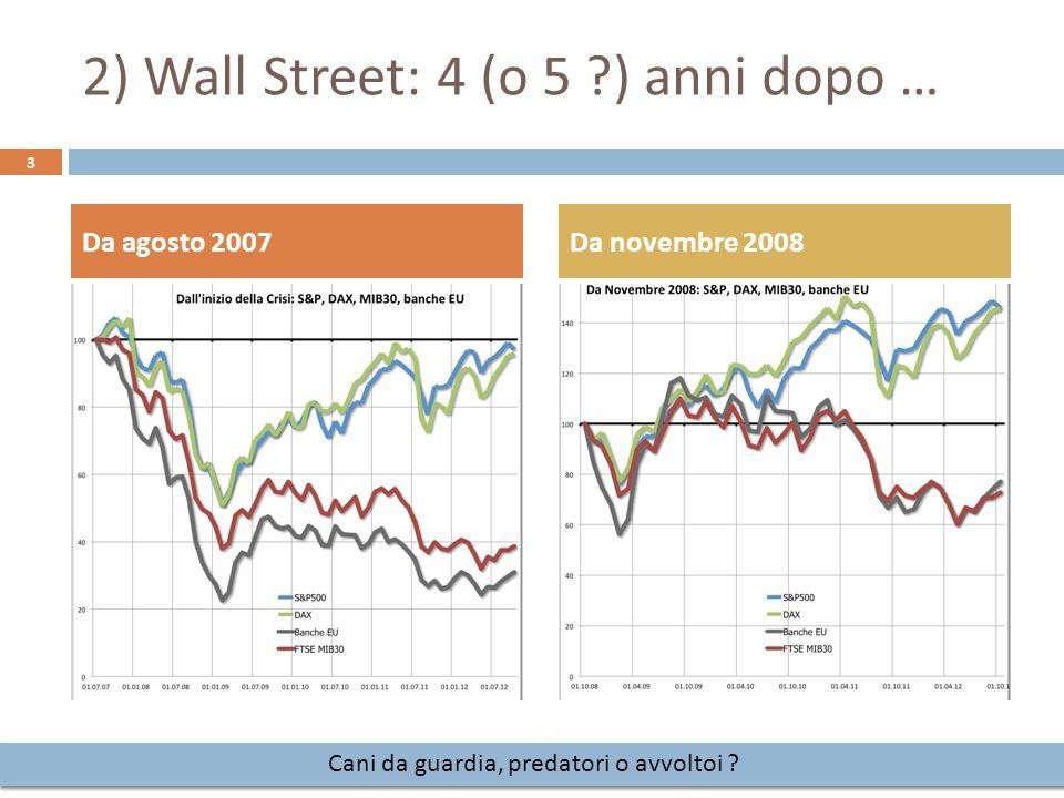 Da agosto 2007Da novembre 2008 3 2) Wall Street: 4 (o 5 ?) anni dopo … Cani da guardia, predatori o avvoltoi ?
