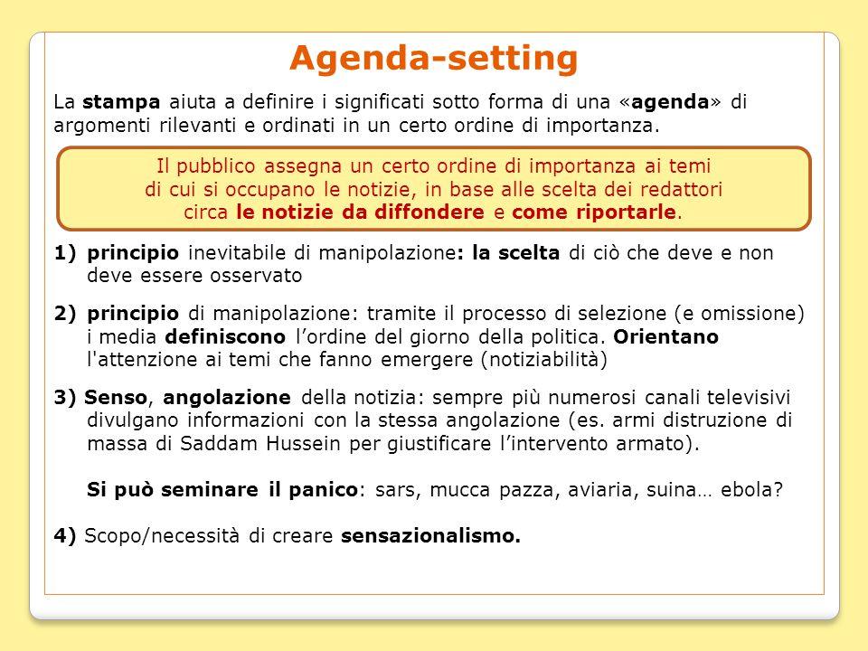 Agenda-setting La stampa aiuta a definire i significati sotto forma di una «agenda» di argomenti rilevanti e ordinati in un certo ordine di importanza