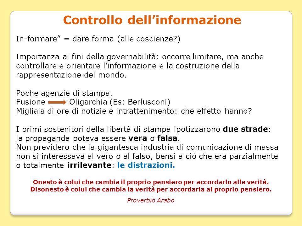 """Controllo dell'informazione In-formare"""" = dare forma (alle coscienze?) Importanza ai fini della governabilità: occorre limitare, ma anche controllare"""