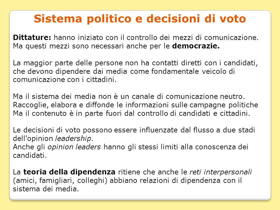 Sistema politico e decisioni di voto Dittature: hanno iniziato con il controllo dei mezzi di comunicazione. Ma questi mezzi sono necessari anche per l