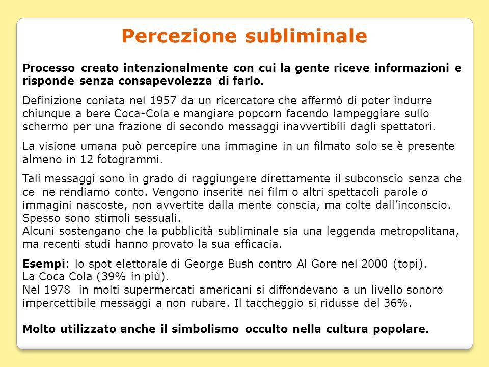 Percezione subliminale Processo creato intenzionalmente con cui la gente riceve informazioni e risponde senza consapevolezza di farlo. Definizione con