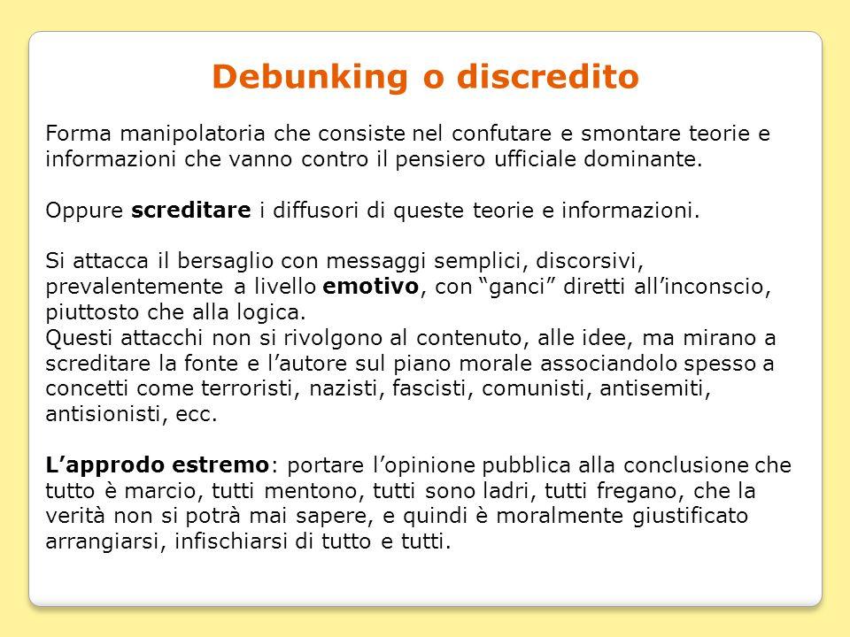 Debunking o discredito Forma manipolatoria che consiste nel confutare e smontare teorie e informazioni che vanno contro il pensiero ufficiale dominant