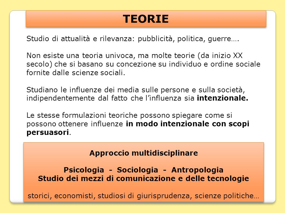 Approccio multidisciplinare Psicologia - Sociologia - Antropologia Studio dei mezzi di comunicazione e delle tecnologie storici, economisti, studiosi