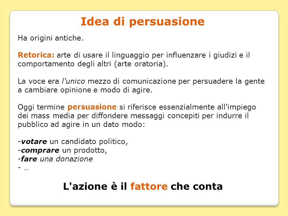 Idea di persuasione Ha origini antiche. Retorica: arte di usare il linguaggio per influenzare i giudizi e il comportamento degli altri (arte oratoria)