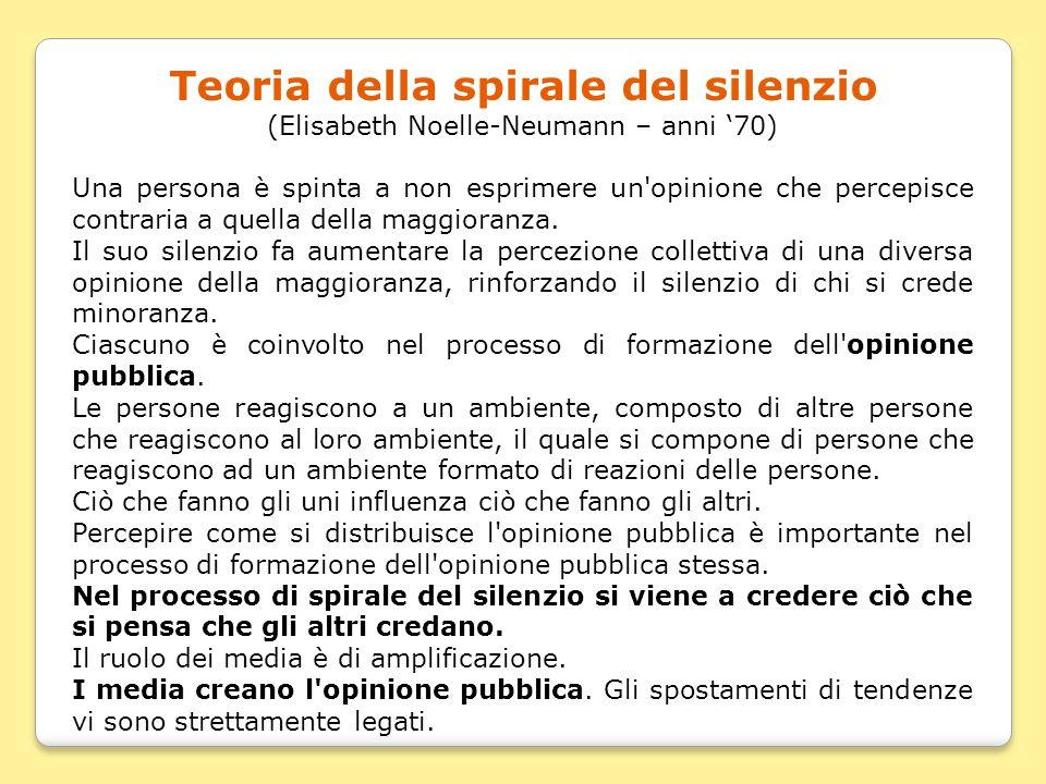 Teoria della spirale del silenzio (Elisabeth Noelle-Neumann – anni '70) Una persona è spinta a non esprimere un'opinione che percepisce contraria a qu