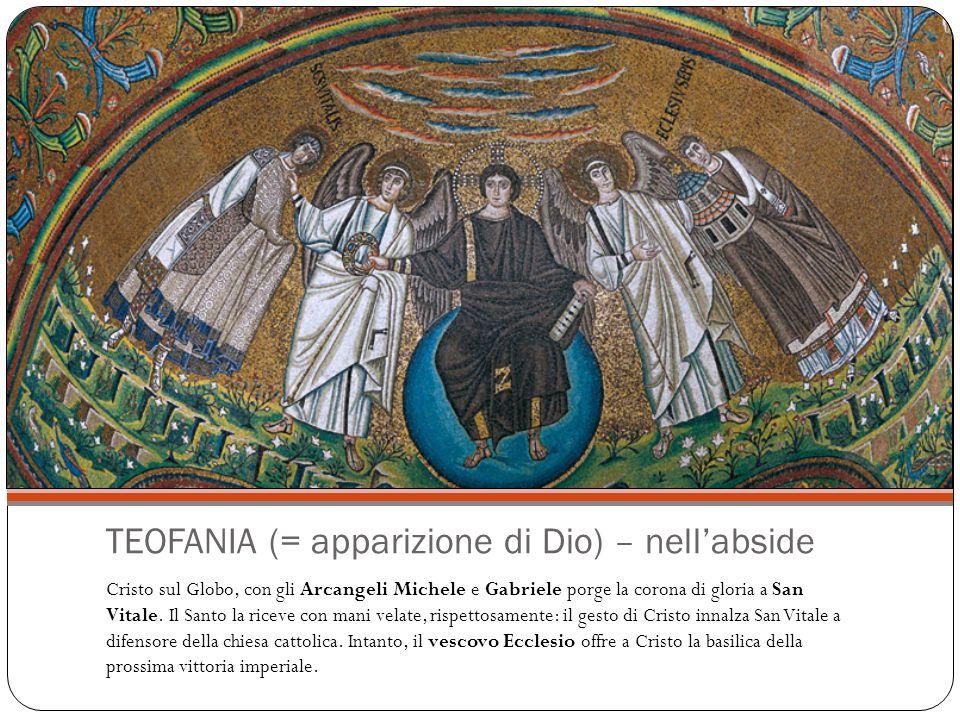 Il Battesimo di Cristo San Giovanni Battista (sinistra) versa l'acqua del fiume Giordano (personificato a destra come un anziano barbuto) sul capo di Cristo (centro, immerso nell'acqua).