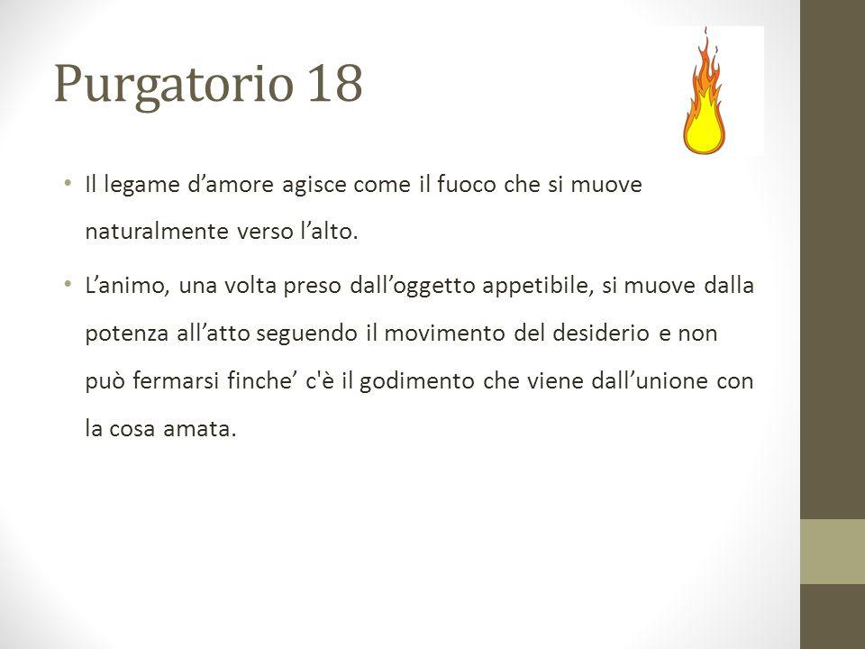 Purgatorio 18 Il legame d'amore agisce come il fuoco che si muove naturalmente verso l'alto.