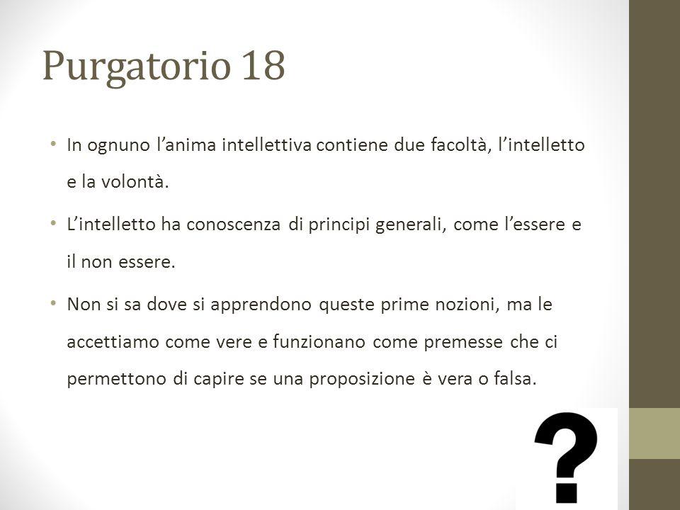 Purgatorio 18 In ognuno l'anima intellettiva contiene due facoltà, l'intelletto e la volontà.