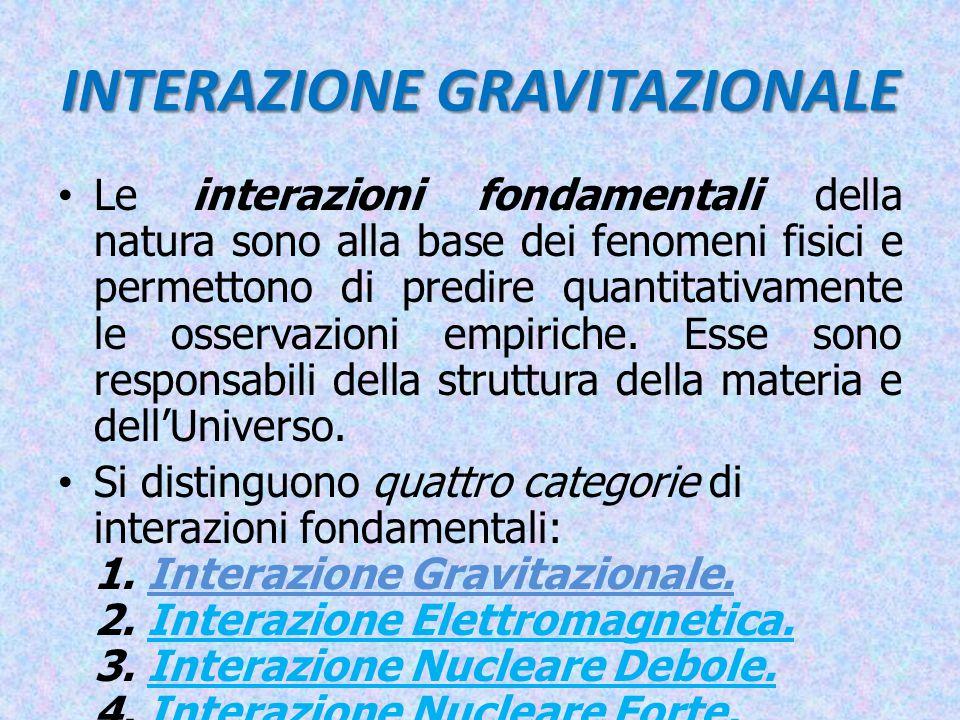 INTERAZIONE GRAVITAZIONALE Nel campo della fisica classica è interpretata come forza di tipo attrattiva conservativa tra due corpi dotati di massa.