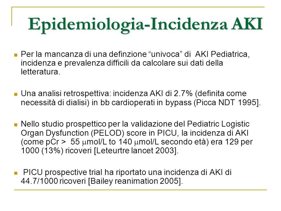 """Epidemiologia-Incidenza AKI Per la mancanza di una definzione """"univoca"""" di AKI Pediatrica, incidenza e prevalenza difficili da calcolare sui dati dell"""