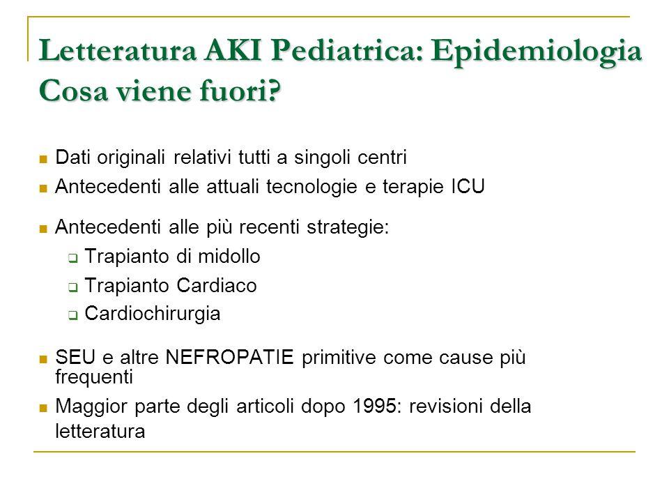 Letteratura AKI Pediatrica: Epidemiologia Cosa viene fuori? Dati originali relativi tutti a singoli centri Antecedenti alle attuali tecnologie e terap