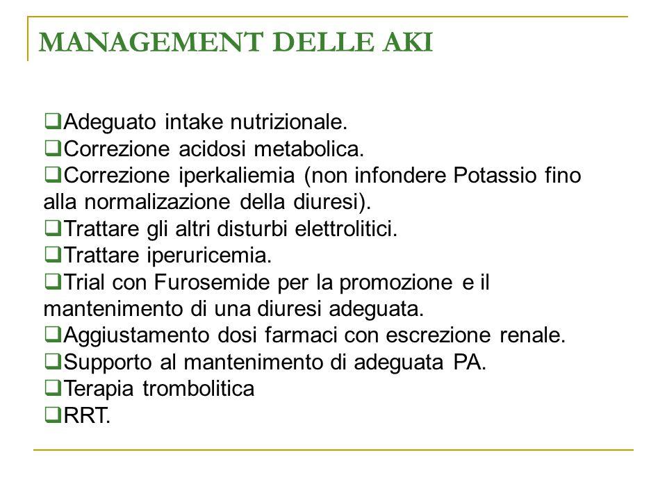MANAGEMENT DELLE AKI  Adeguato intake nutrizionale.  Correzione acidosi metabolica.  Correzione iperkaliemia (non infondere Potassio fino alla norm