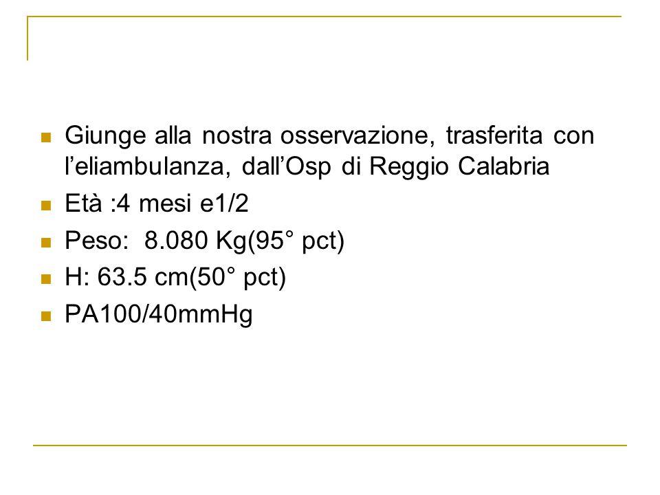 Giunge alla nostra osservazione, trasferita con l'eliambulanza, dall'Osp di Reggio Calabria Età :4 mesi e1/2 Peso: 8.080 Kg(95° pct) H: 63.5 cm(50° pc