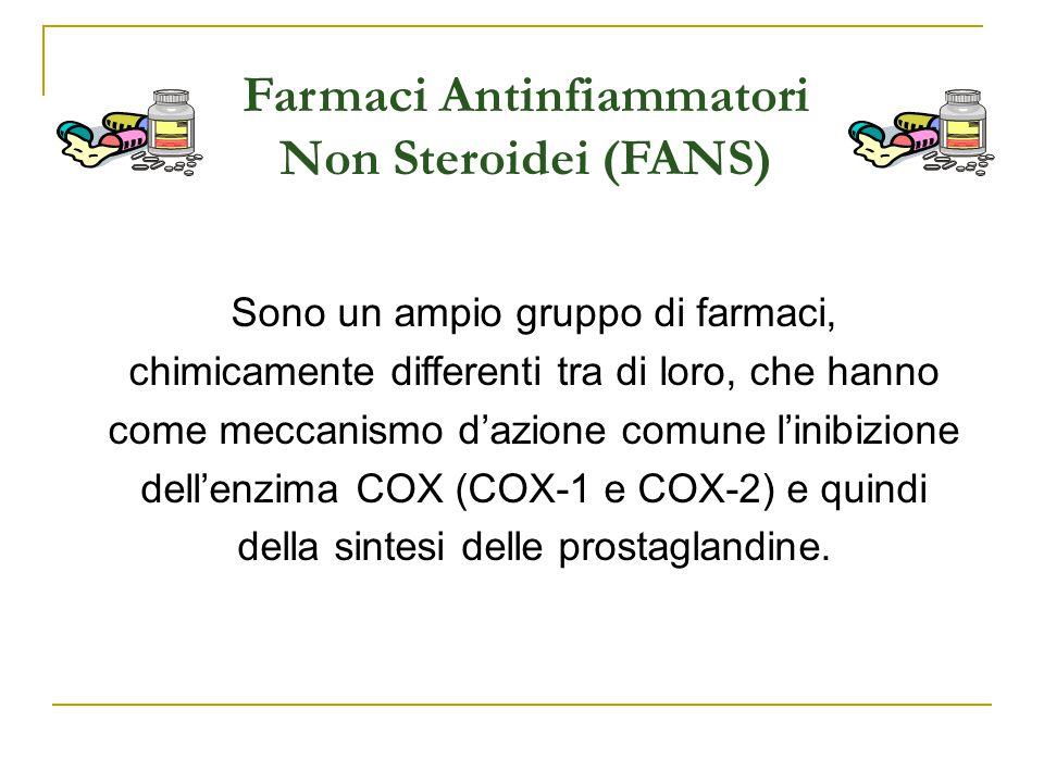 Farmaci Antinfiammatori Non Steroidei (FANS) Sono un ampio gruppo di farmaci, chimicamente differenti tra di loro, che hanno come meccanismo d'azione