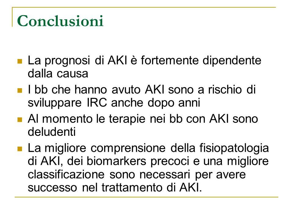 La prognosi di AKI è fortemente dipendente dalla causa I bb che hanno avuto AKI sono a rischio di sviluppare IRC anche dopo anni Al momento le terapie