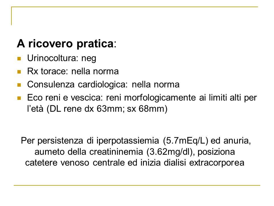 A ricovero pratica: Urinocoltura: neg Rx torace: nella norma Consulenza cardiologica: nella norma Eco reni e vescica: reni morfologicamente ai limiti