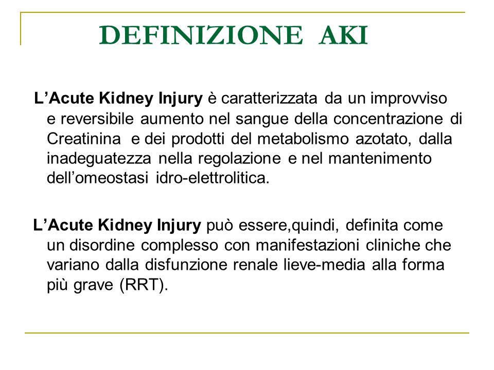 DEFINIZIONE AKI L'Acute Kidney Injury è caratterizzata da un improvviso e reversibile aumento nel sangue della concentrazione di Creatinina e dei prod