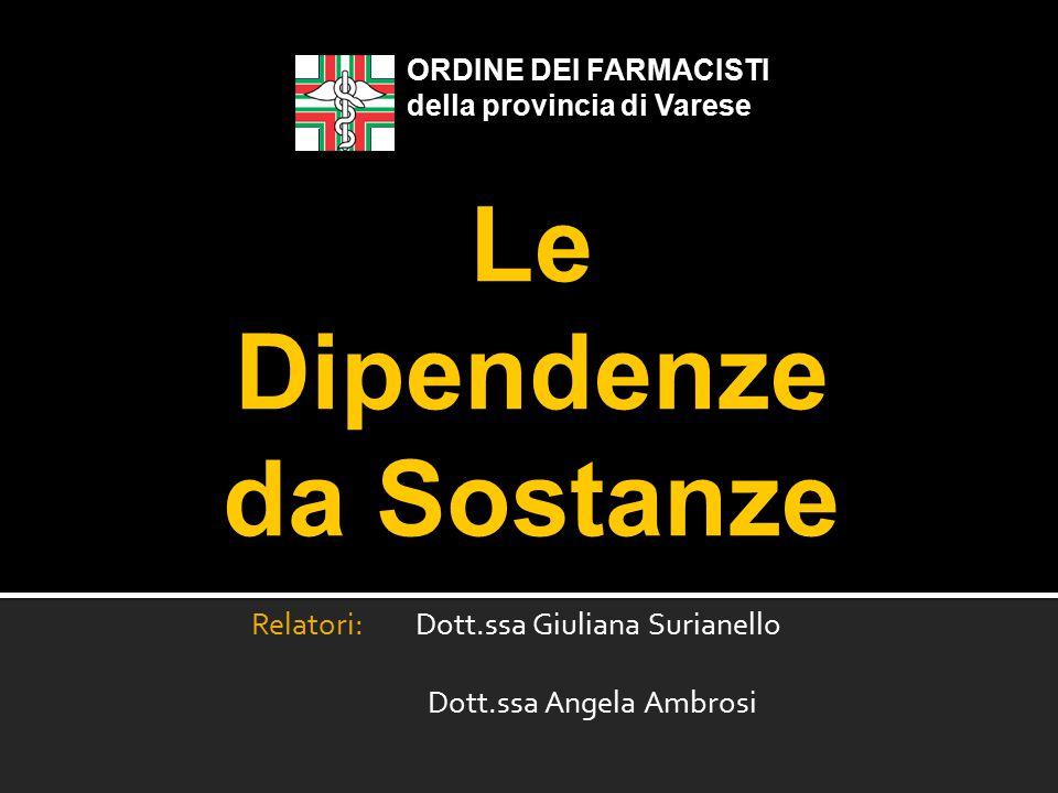Relatori: Dott.ssa Giuliana Surianello Dott.ssa Angela Ambrosi ORDINE DEI FARMACISTI della provincia di Varese Le Dipendenze da Sostanze