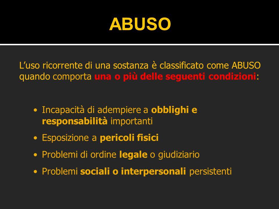 L'uso ricorrente di una sostanza è classificato come ABUSO quando comporta una o più delle seguenti condizioni: Incapacità di adempiere a obblighi e r