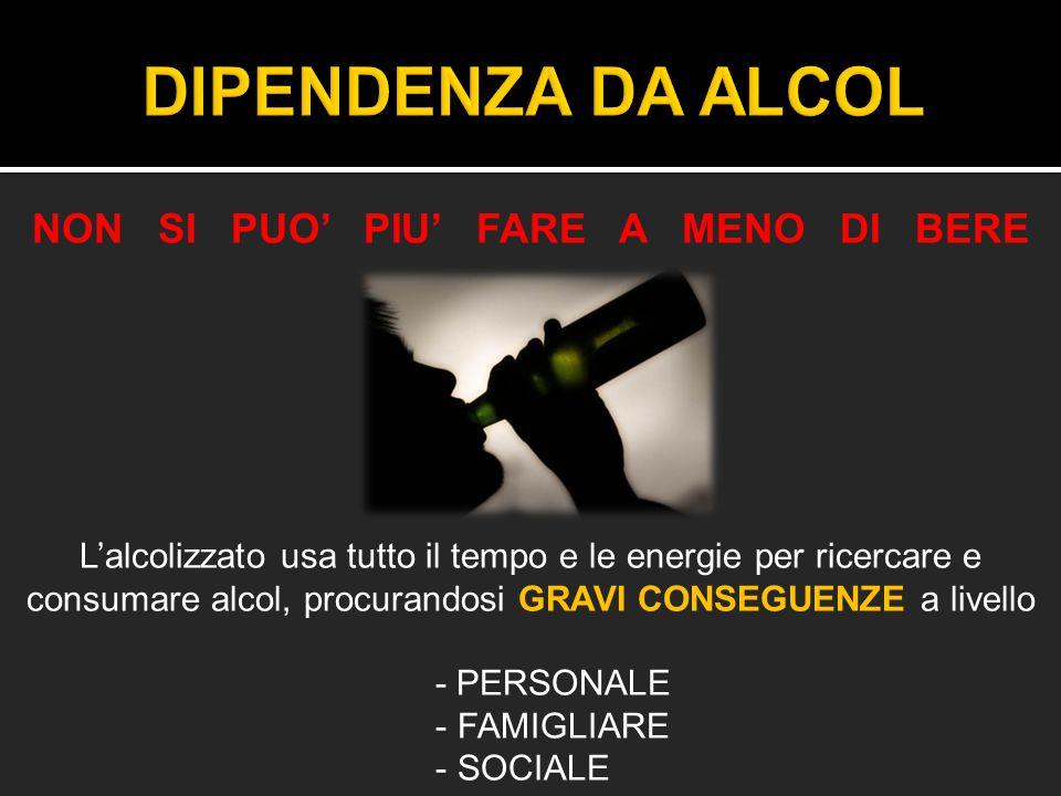 NON SI PUO' PIU' FARE A MENO DI BERE L'alcolizzato usa tutto il tempo e le energie per ricercare e consumare alcol, procurandosi GRAVI CONSEGUENZE a l