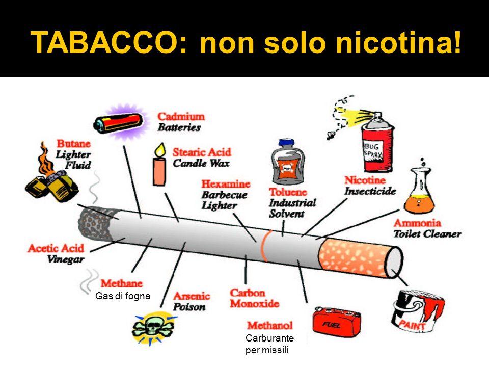 TABACCO: non solo nicotina! Carburante per missili Gas di fogna