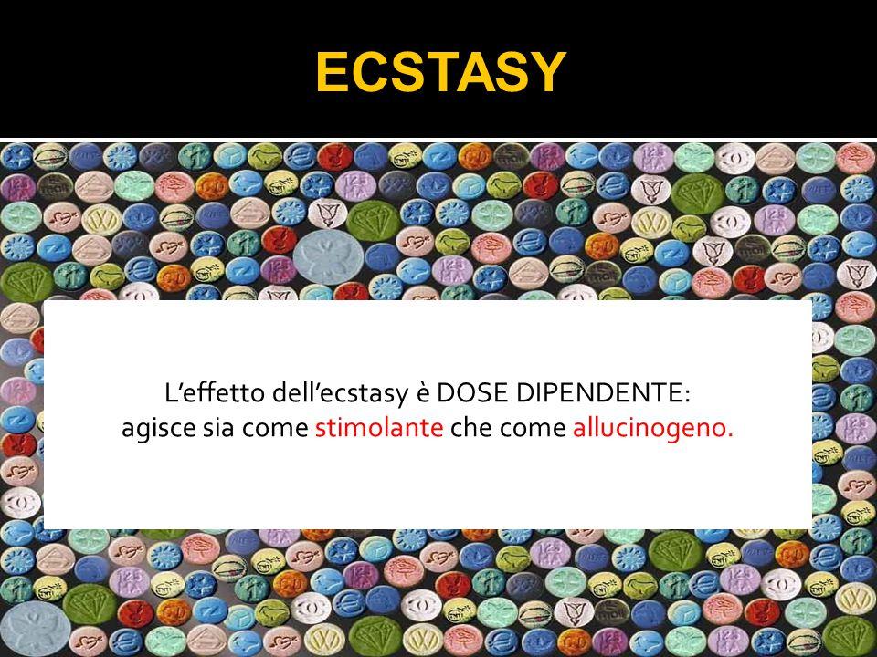 L'effetto dell'ecstasy è DOSE DIPENDENTE: agisce sia come stimolante che come allucinogeno.
