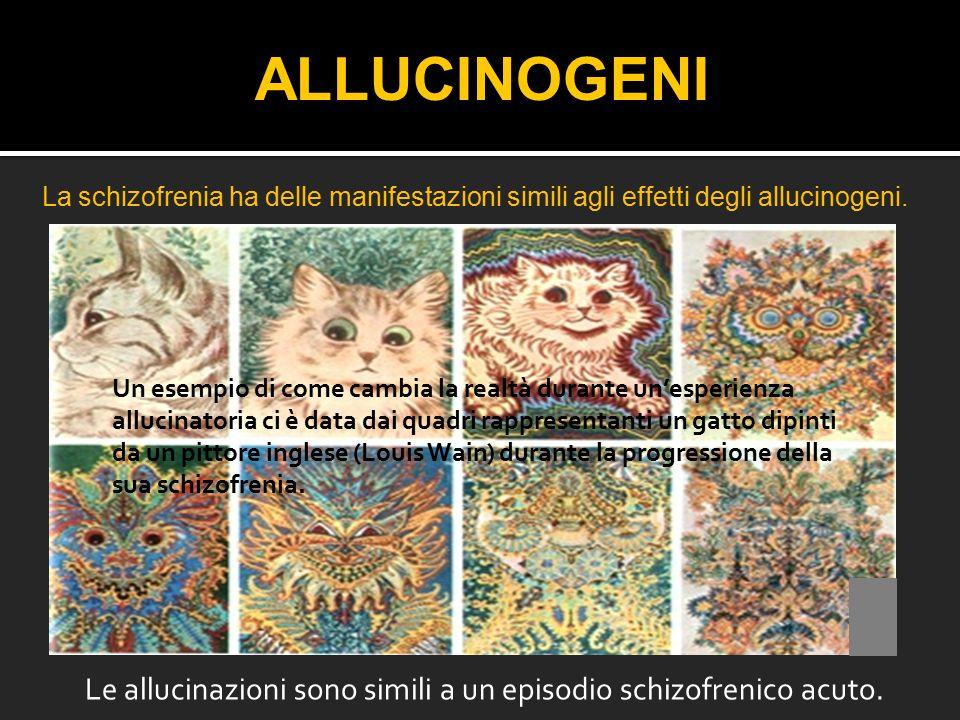 Le allucinazioni sono simili a un episodio schizofrenico acuto. ALLUCINOGENI La schizofrenia ha delle manifestazioni simili agli effetti degli allucin
