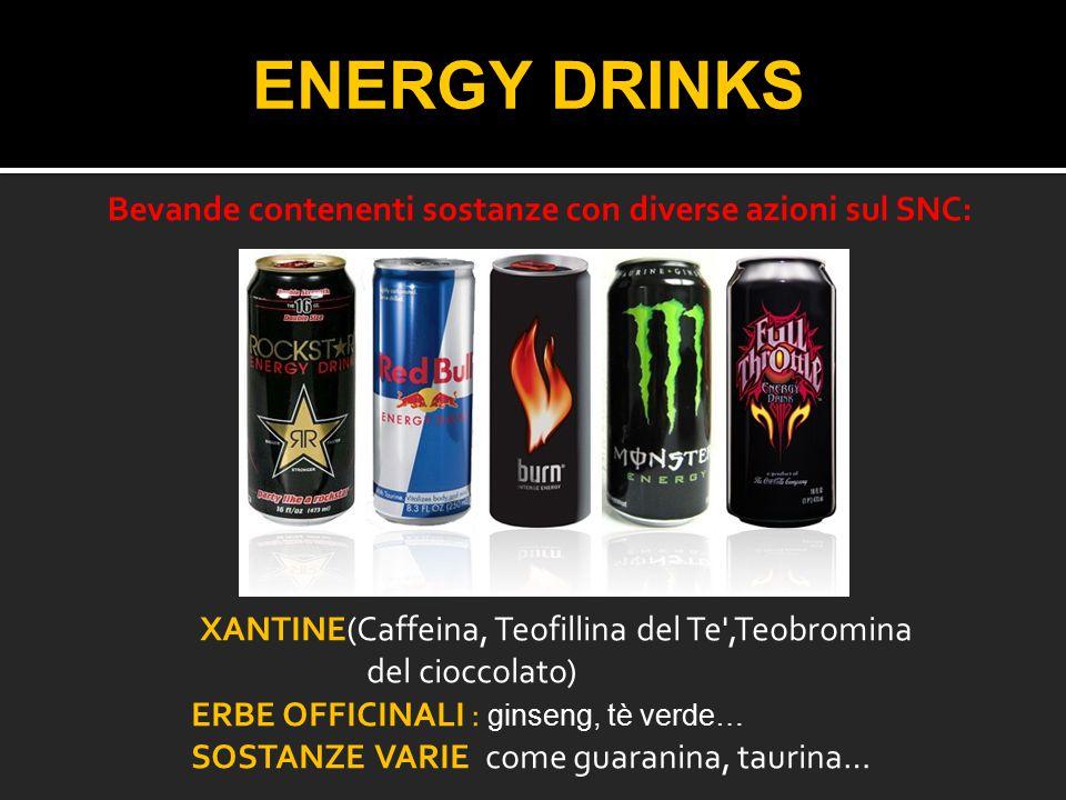 ENERGY DRINKS XANTINE(Caffeina, Teofillina del Te',Teobromina del cioccolato) ERBE OFFICINALI : ginseng, tè verde… SOSTANZE VARIE come guaranina, taur