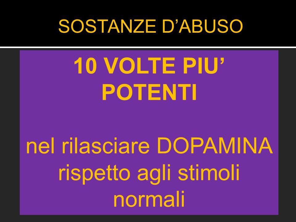 SOSTANZE D'ABUSO 10 VOLTE PIU' POTENTI nel rilasciare DOPAMINA rispetto agli stimoli normali