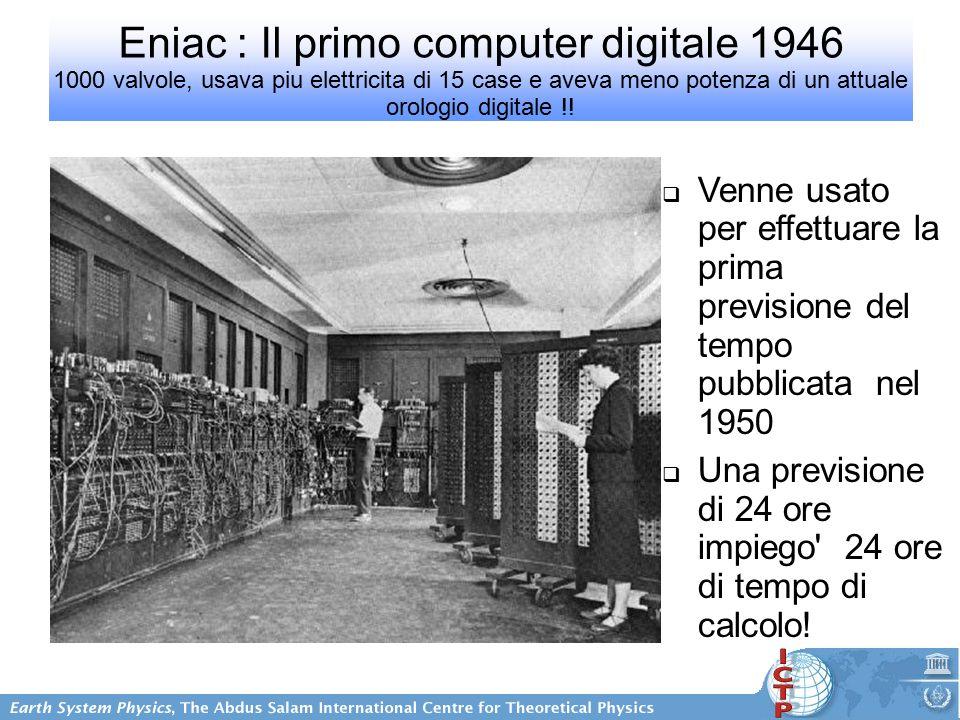 Eniac : Il primo computer digitale 1946 1000 valvole, usava piu elettricita di 15 case e aveva meno potenza di un attuale orologio digitale !.
