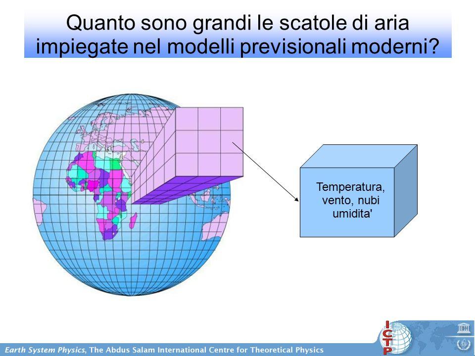 Quanto sono grandi le scatole di aria impiegate nel modelli previsionali moderni.