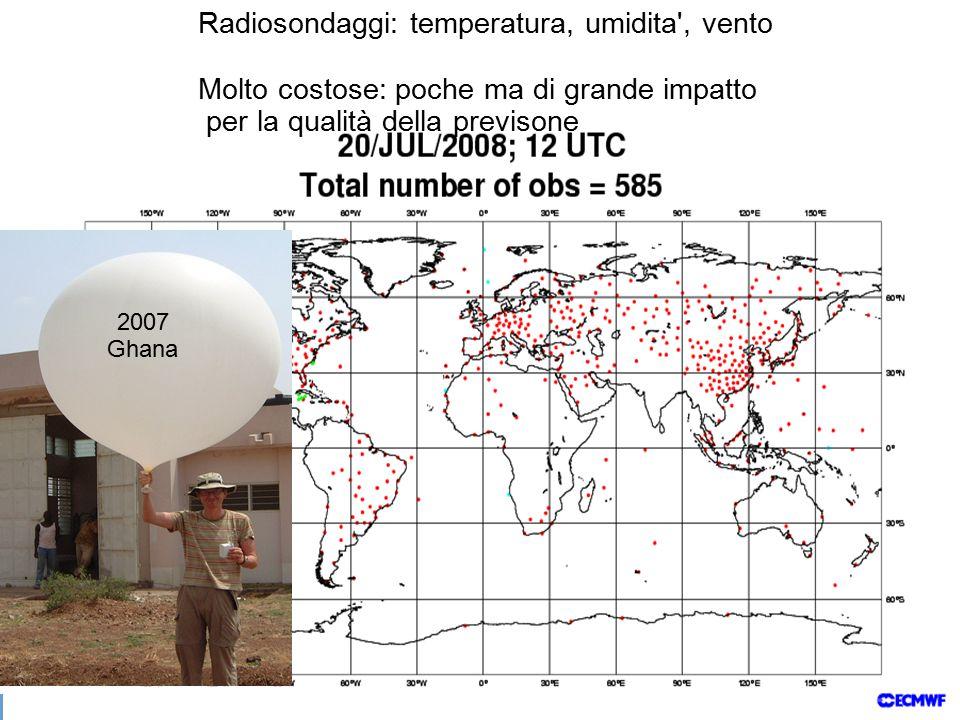 Radiosondaggi: temperatura, umidita , vento Molto costose: poche ma di grande impatto per la qualità della previsone 2007 Ghana