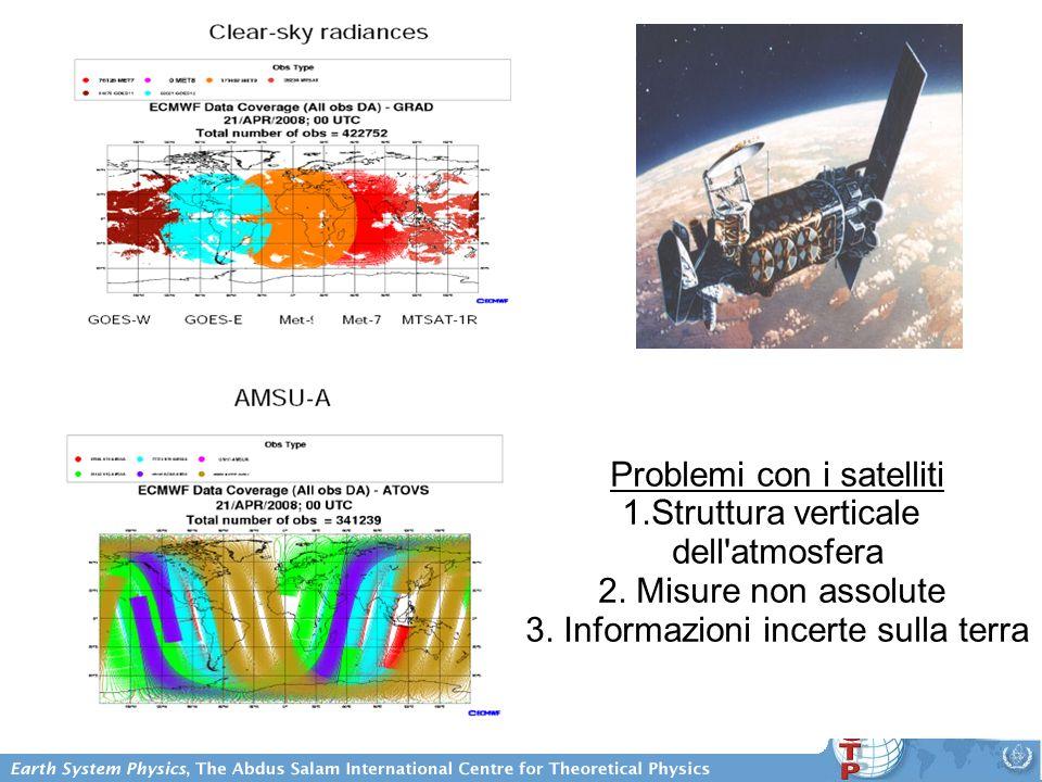 Problemi con i satelliti 1.Struttura verticale dell atmosfera 2.