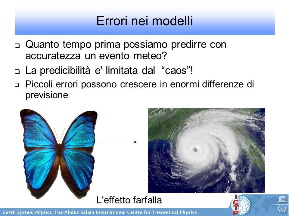 Errori nei modelli  Quanto tempo prima possiamo predirre con accuratezza un evento meteo.