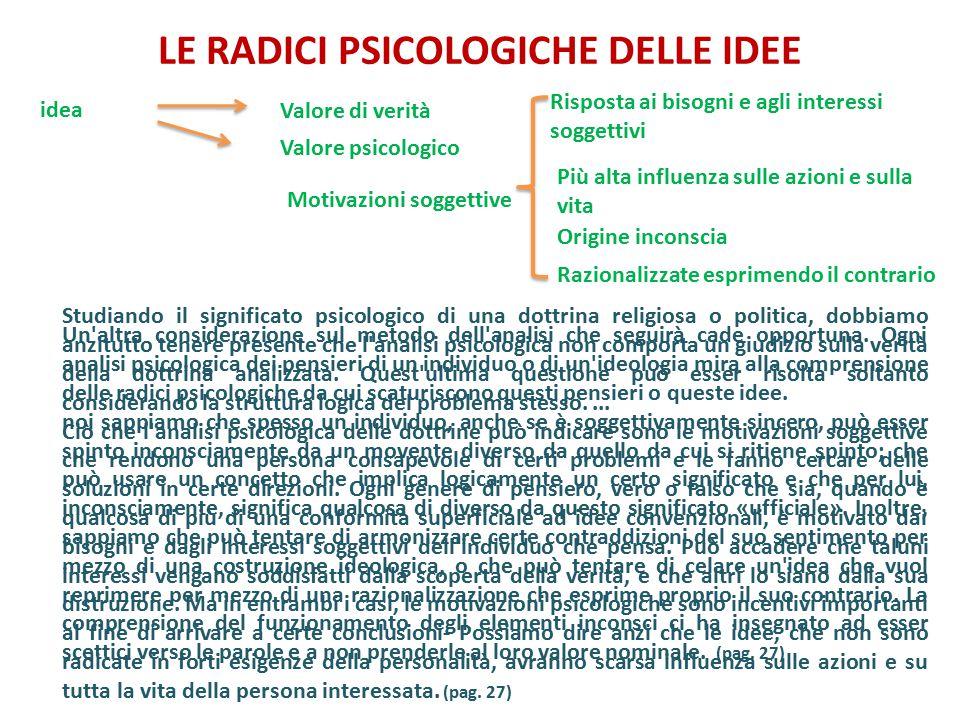 LE RADICI PSICOLOGICHE DELLE IDEE Studiando il significato psicologico di una dottrina religiosa o politica, dobbiamo anzitutto tenere presente che l'