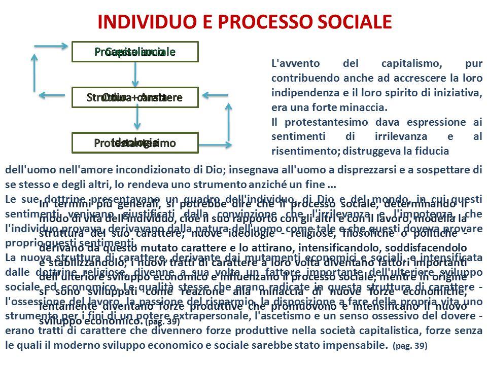 INDIVIDUO E PROCESSO SOCIALE In termini più generali, si potrebbe dire che il processo sociale, determinando il modo di vita dell'individuo, cioè il s