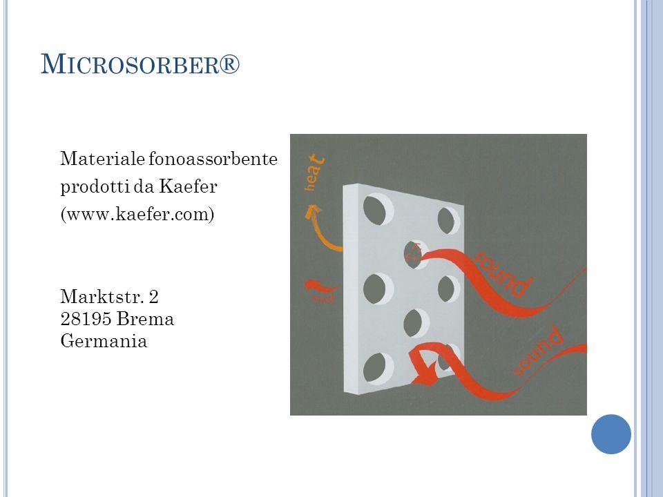 M ICROSORBER ® Materiale fonoassorbente prodotti da Kaefer (www.kaefer.com) Marktstr. 2 28195 Brema Germania
