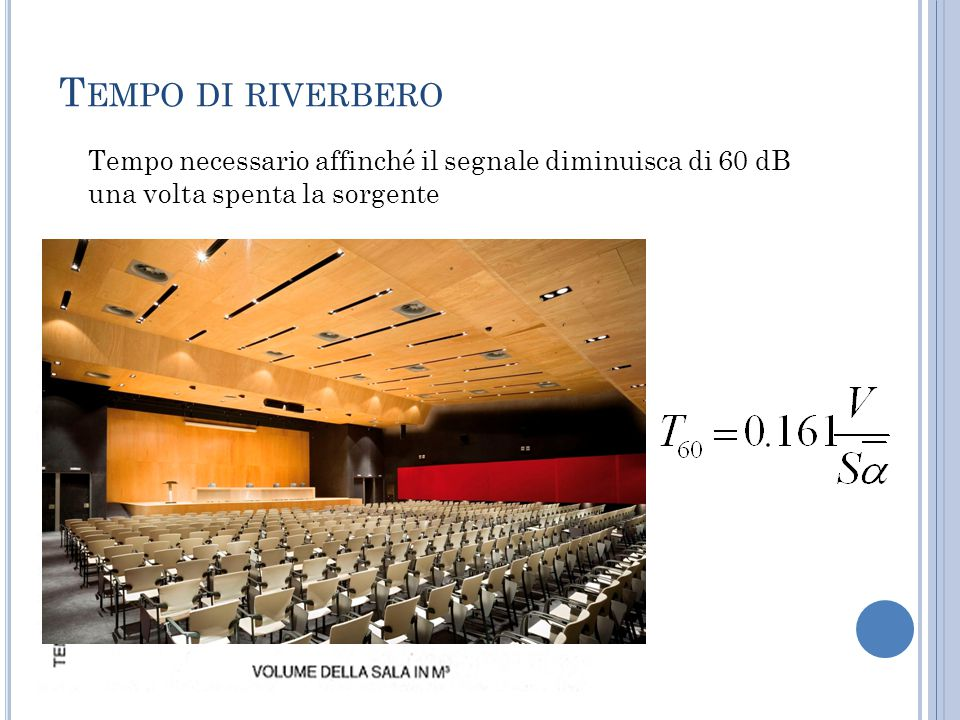 R ELAZIONE FRA LIVELLO DI PRESSIONE SONORA E TEMPO DI RIVERBERO