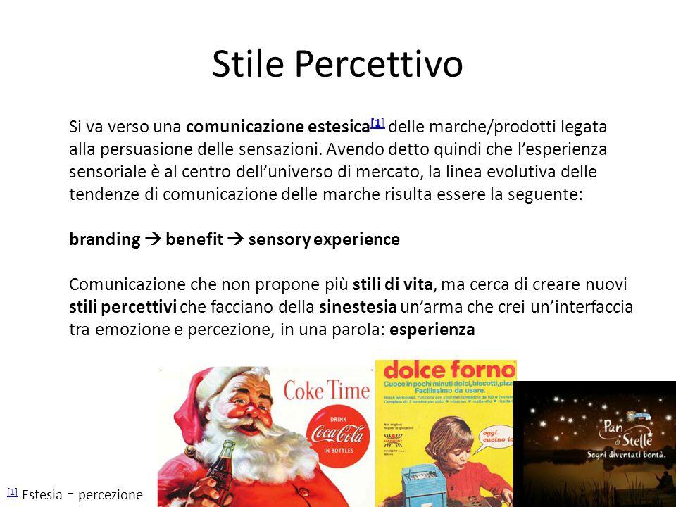 Stile Percettivo Si va verso una comunicazione estesica [1] delle marche/prodotti legata [1] alla persuasione delle sensazioni.