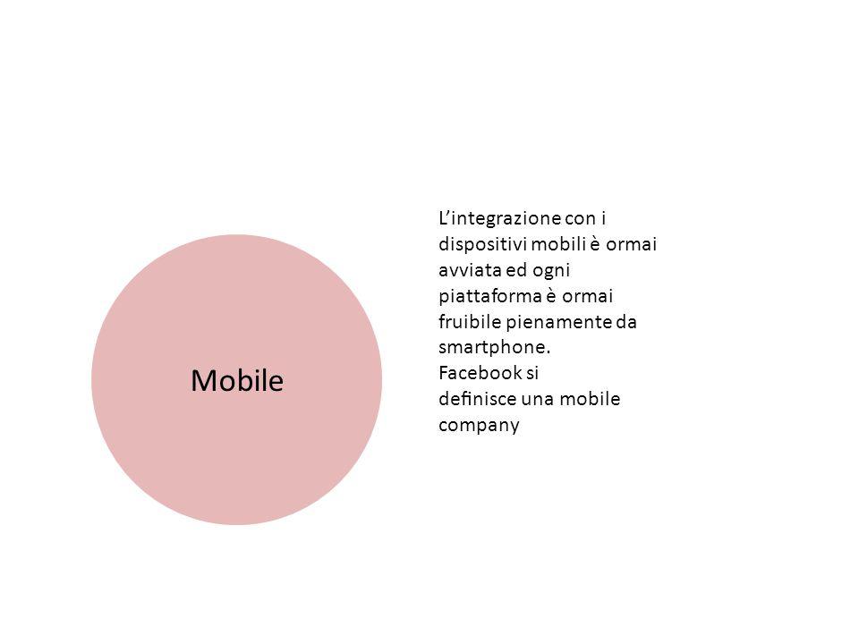 Mobile L'integrazione con i dispositivi mobili è ormai avviata ed ogni piattaforma è ormai fruibile pienamente da smartphone.